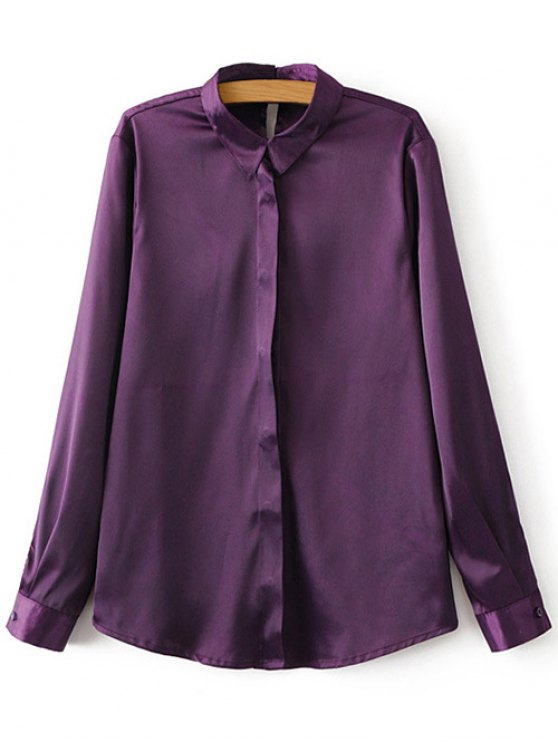 Satins Formal Shirt - PURPLE M Mobile