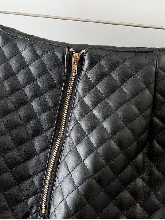 Rivet PU Leather Bodycon Skirt - BLACK M Mobile