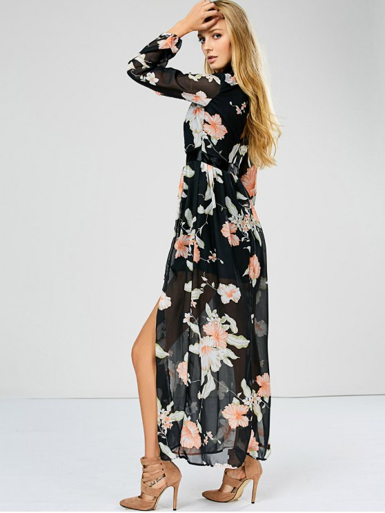 Slit Floral Keyhole Sheer Swing Dress - FLORAL M Mobile