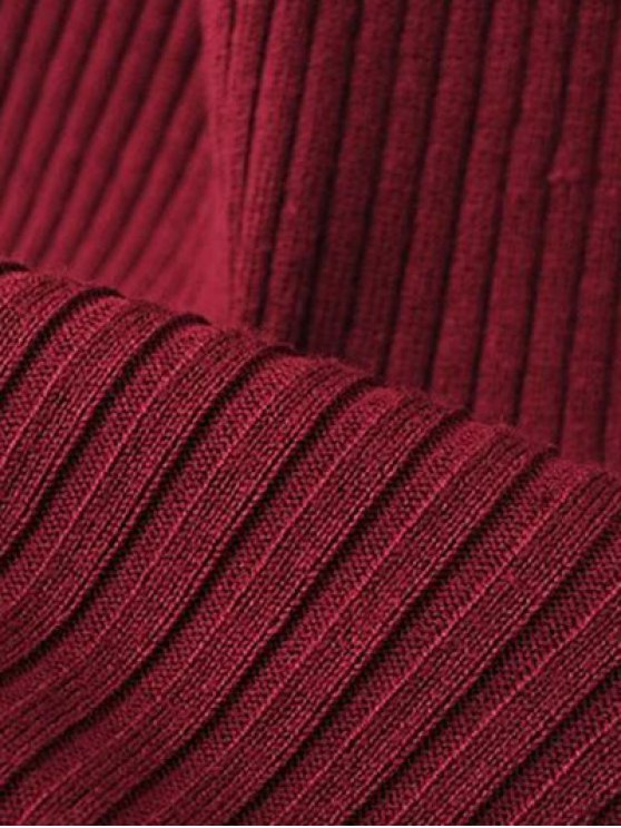 Turtleneck Sleeveless Sweater Dress - BURGUNDY ONE SIZE Mobile