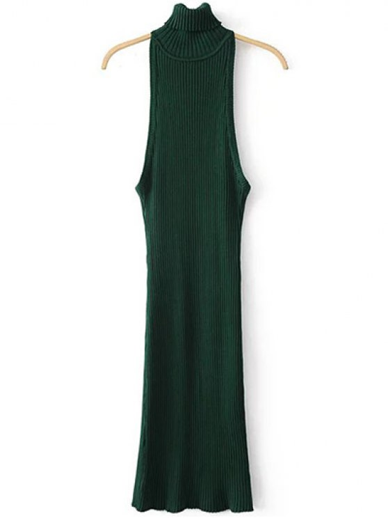 fashion Turtleneck Sleeveless Sweater Dress - GREEN ONE SIZE