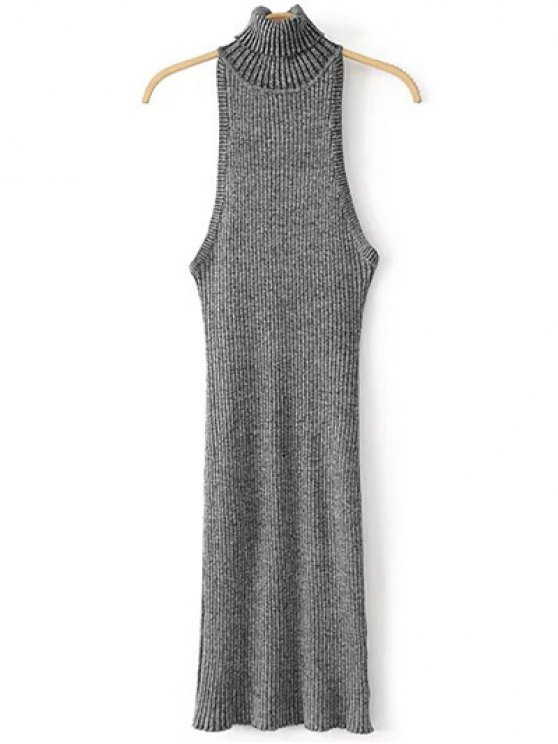 Turtleneck Sleeveless Sweater Dress - GRAY ONE SIZE Mobile