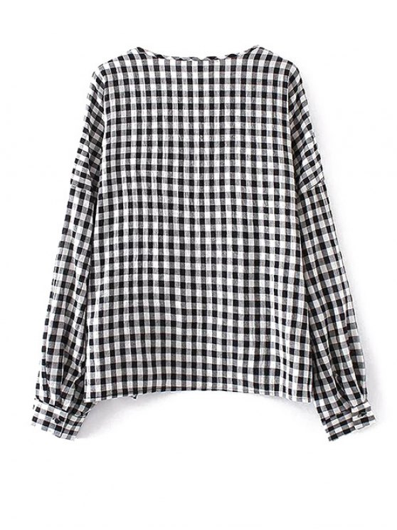 Keyhole Gingham Check Blouse - WHITE AND BLACK M Mobile