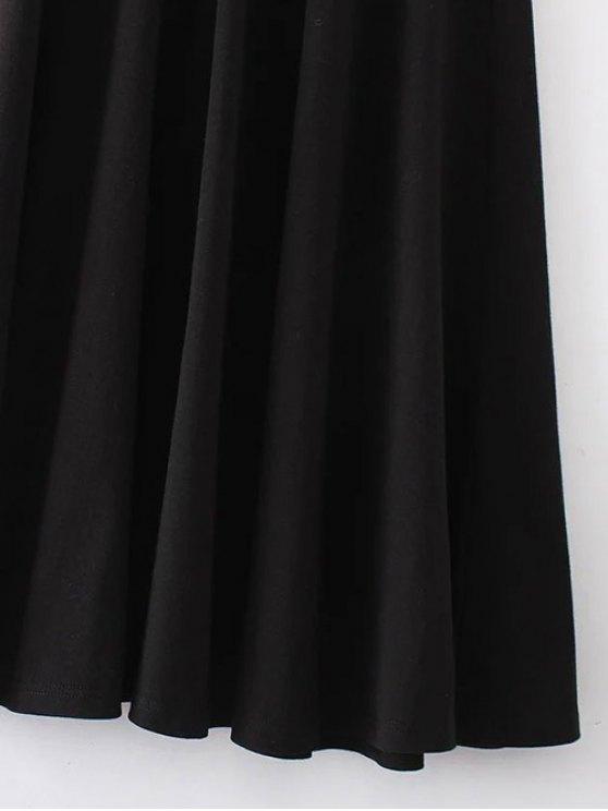 Midi Flared Tank Dress - BLACK S Mobile