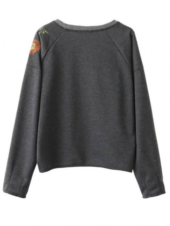 Embroidered Raglan Pullover Sweatshirt - GRAY L Mobile