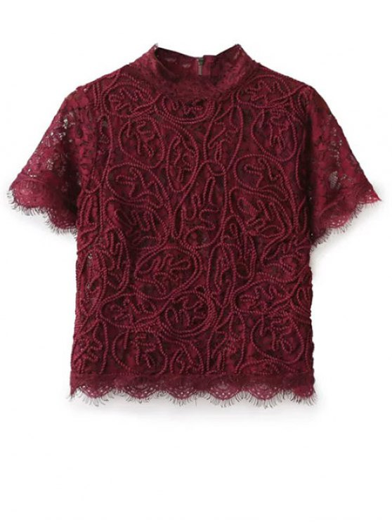 Mock Neck Lace Top - BURGUNDY M Mobile