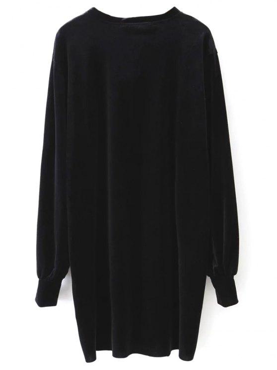 Velvet Tunic Dress - BLACK M Mobile