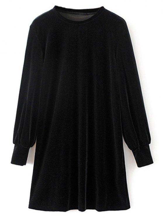 Velvet Tunic Dress - BLACK S Mobile