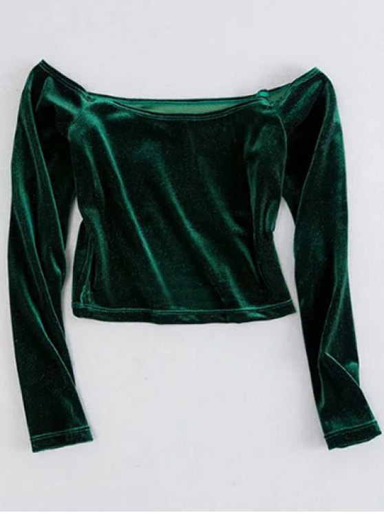 Off The Shoulder recadrée Velvet Top - Vert M