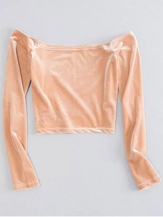 Off The Shoulder Cropped Velvet Top - YELLOWISH PINK M Mobile