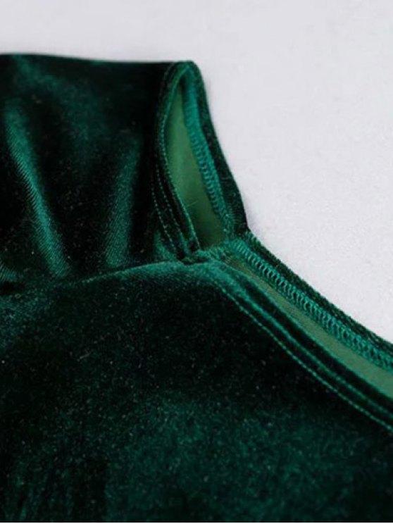 Off The Shoulder Cropped Velvet Top - BLACK M Mobile