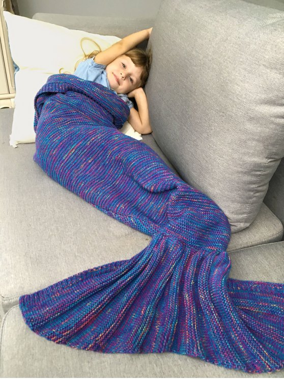 Mix Color Kids' Knit Mermaid Blanket Throw -   Mobile