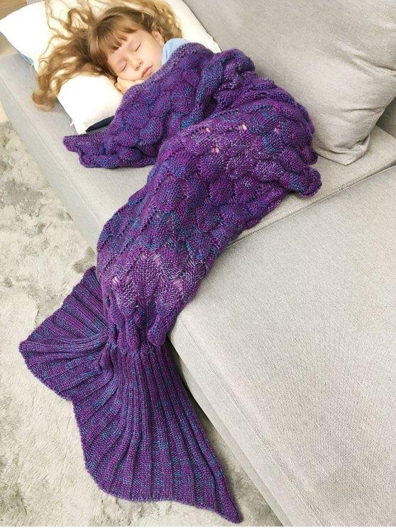 Chunky Crochet Knit Kids' Mermaid Blanket Throw - PURPLE  Mobile