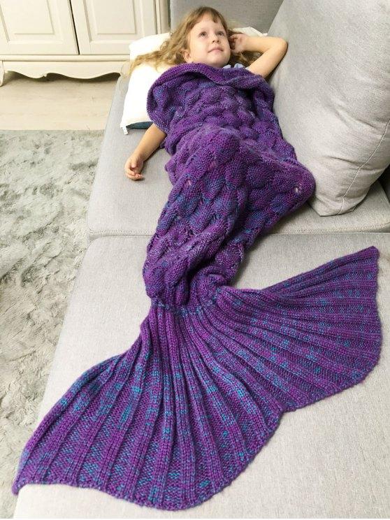 womens Chunky Crochet Knit Kids' Mermaid Blanket Throw - PURPLE