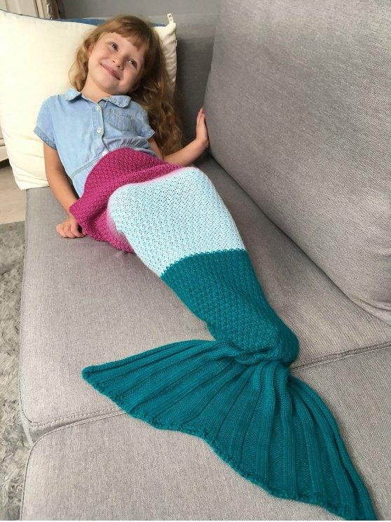 Kids' Ombre Crochet Knit Mermaid Blanket Throw -   Mobile
