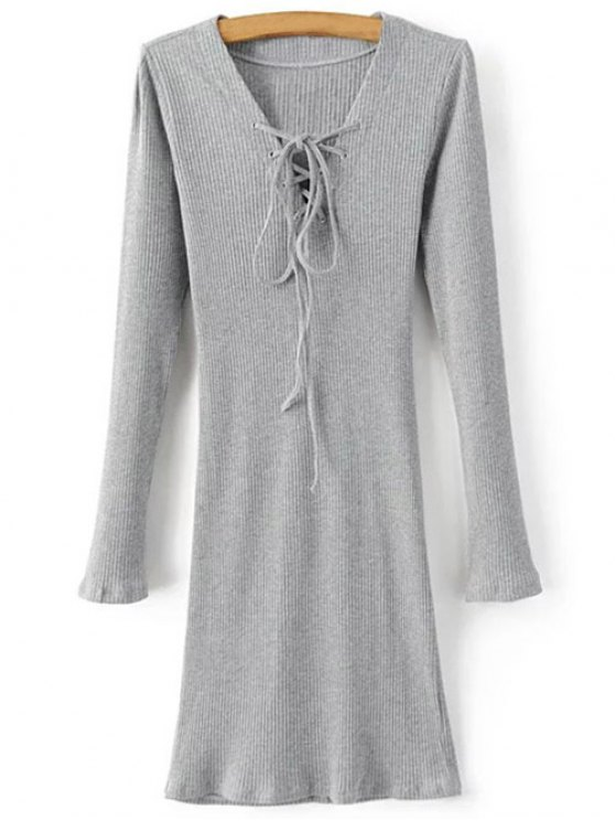 ladies Long Sleeve Ribbed Lace Up Bodycon Dress - GRAY M