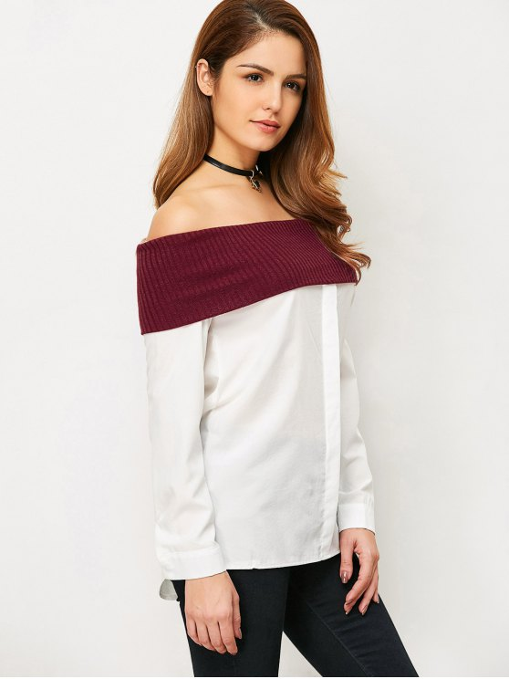Knitting Panel Off The Shoulder Blouse - WHITE L Mobile
