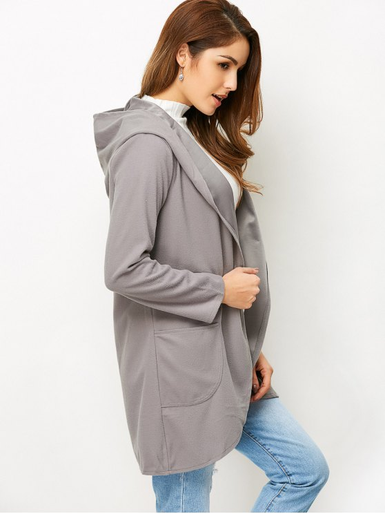 Cotton Open Front Coat - GRAY L Mobile