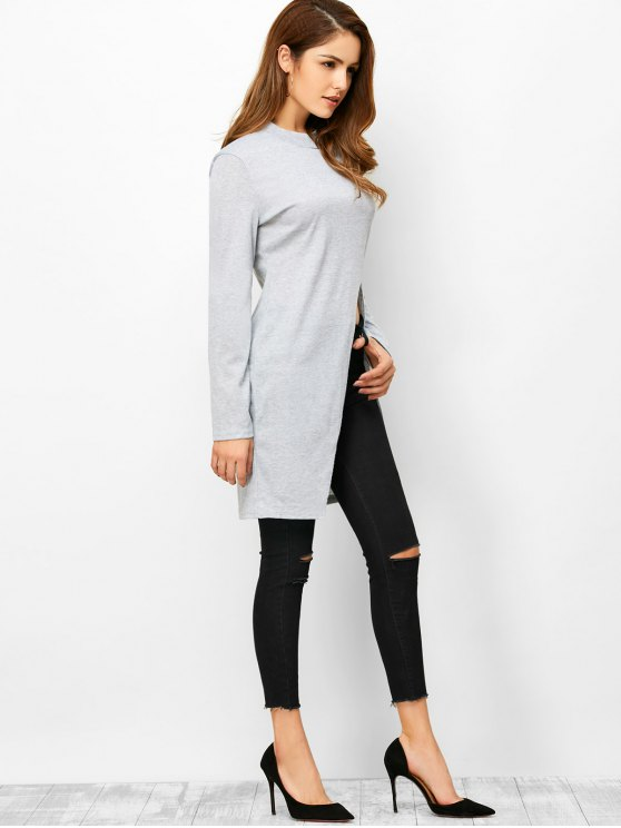 High Neck High Slit T-Shirt - LIGHT GRAY XL Mobile