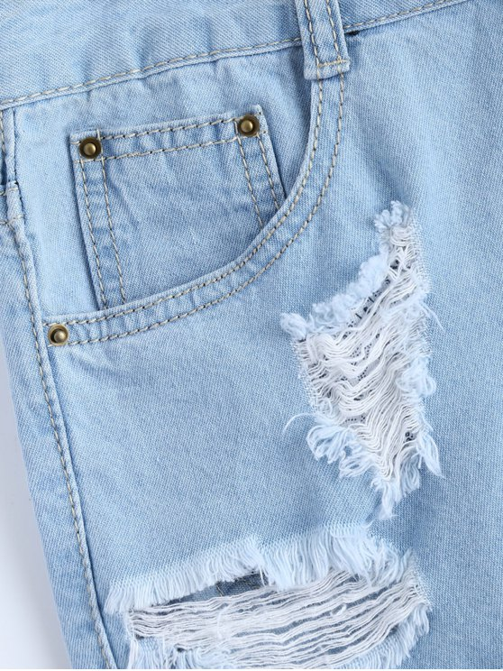 Light Wash Rivet Ripped Denim Shorts - LIGHT BLUE S Mobile