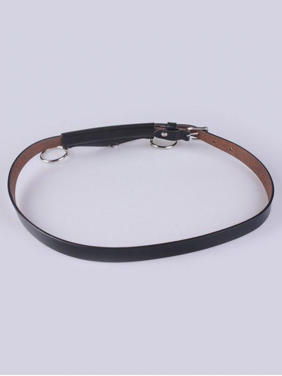 Faux Leather Waist Belt - BLACK  Mobile