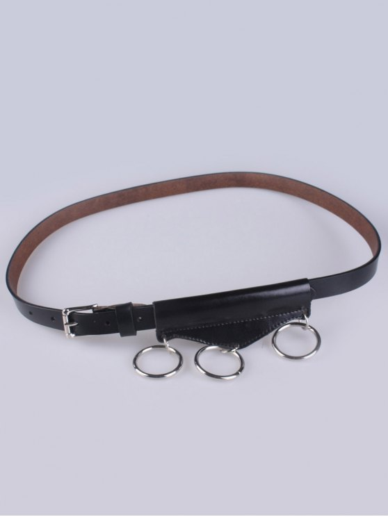 women's Faux Leather Waist Belt - BLACK