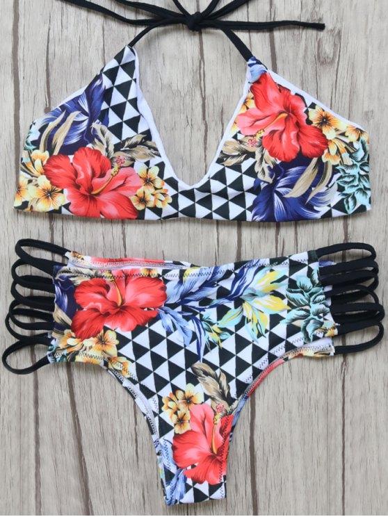 Strappy Floral Geo Bikini Set - MULTICOLOR L Mobile