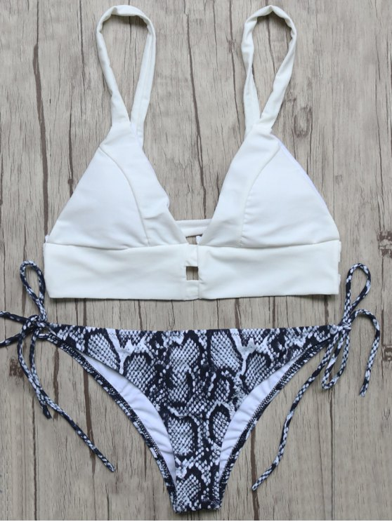 Plunge Bikini Top and Python Print Thong Bottoms - BLUE AND WHITE M Mobile