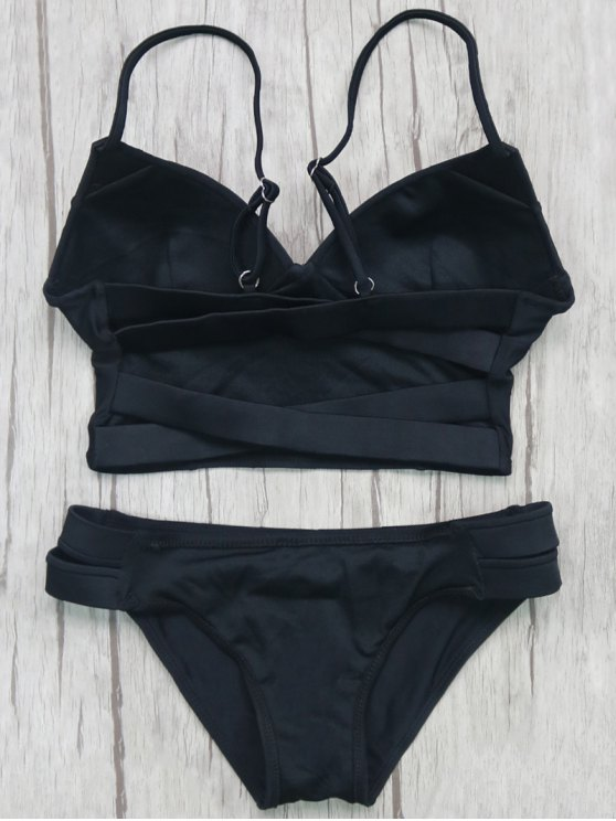Long Line Bikini Top and Bottoms - BLACK M Mobile