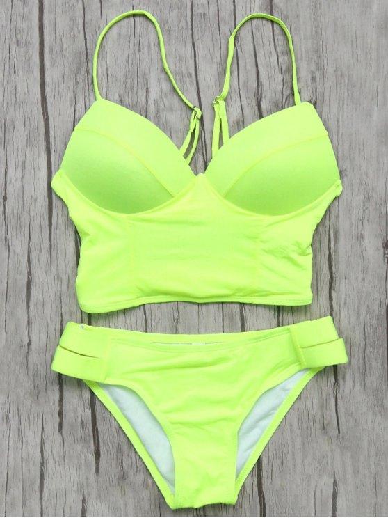 Long Line Bikini Top and Bottoms - NEON GREEN S Mobile