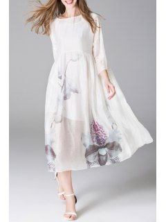 Print Dress With Sleeveless Dress - White S