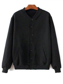 Button Up Baseball Jacket - Noir Xxs