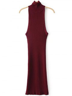 Turtleneck Sleeveless Sweater Dress - Burgundy