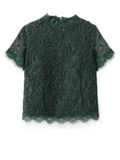 Mock Neck Lace Top - Green S