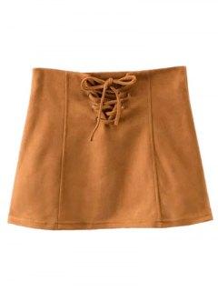 Faux Suede Lace Up Mini Skirt - Camel L