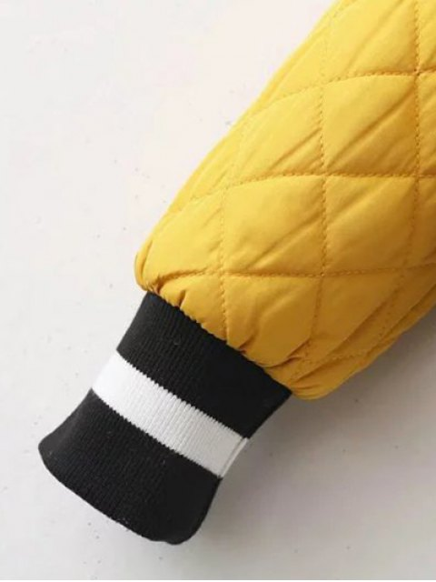 lady Zip Up Padded Pilot Jacket - YELLOW S Mobile