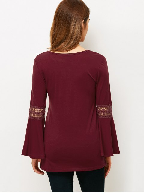 women Flare Sleeve Lace-Up T-Shirt - WINE RED M Mobile