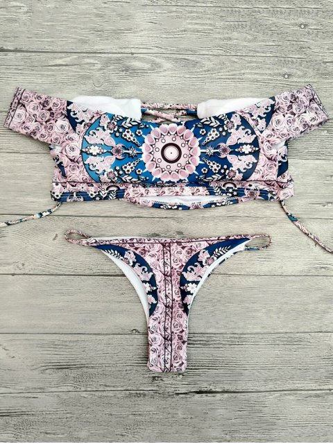 outfit Floral Lace-Up Off The Shoulder Bikini Set - PINK S Mobile