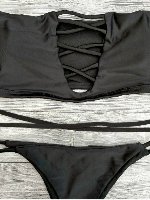 latest Lace-Up Off The Shoulder Bikini Set - BLACK L Mobile