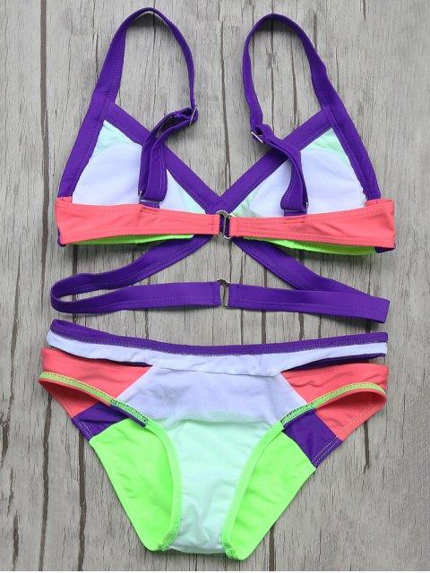 buy Patchwork Bandage Bikini Set - NEON GREEN S Mobile
