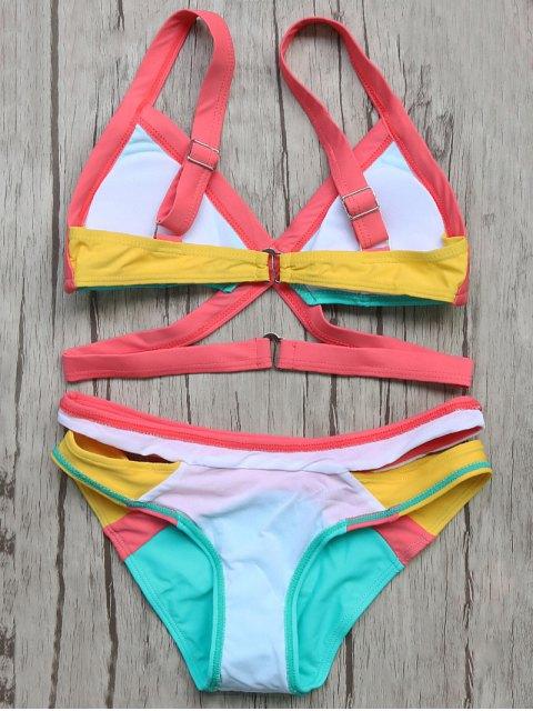 best Patchwork Bandage Bikini Set - TURQOISE S Mobile