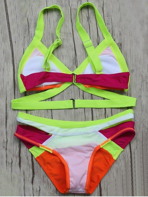 online Patchwork Bandage Bikini Set - ORANGE RED L Mobile