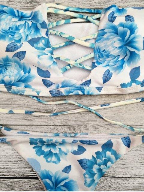 buy Cut Out Off The Shoulder Bikini Set - BLUE S Mobile