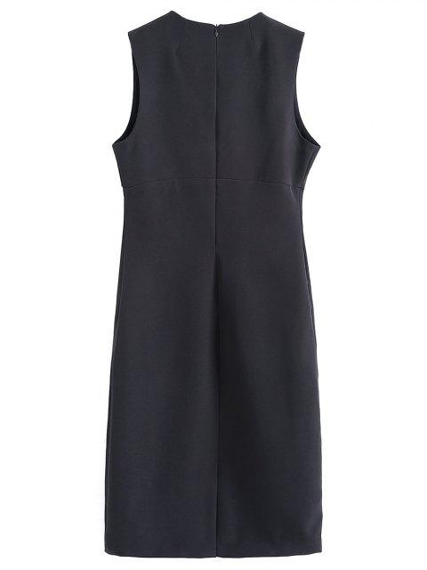 affordable Slit Floral Embroidered Straight Dress - BLACK S Mobile
