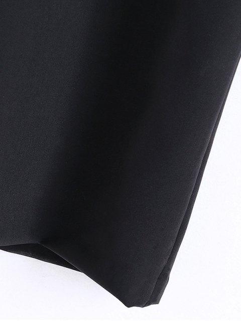 sale Slit Floral Embroidered Straight Dress - BLACK M Mobile