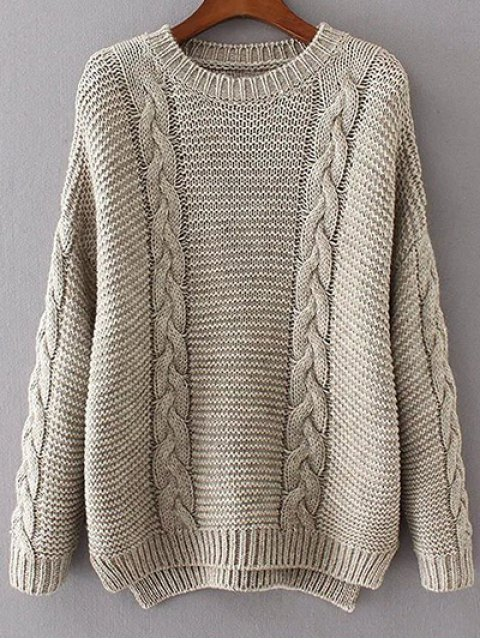 online High Low Cable Knit Jumper Sweater - GRAY ONE SIZE Mobile
