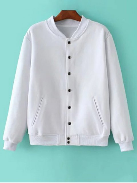 new Button Up Baseball Jacket - WHITE XS Mobile