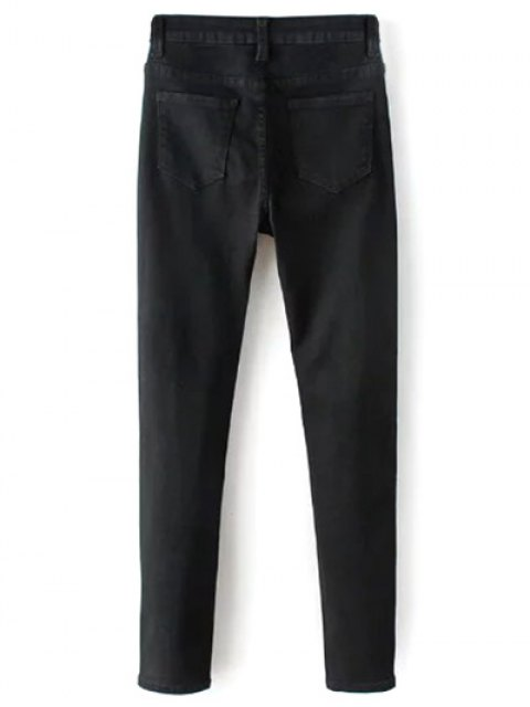 buy High Waisted Zip Fly Jeans - BLACK L Mobile
