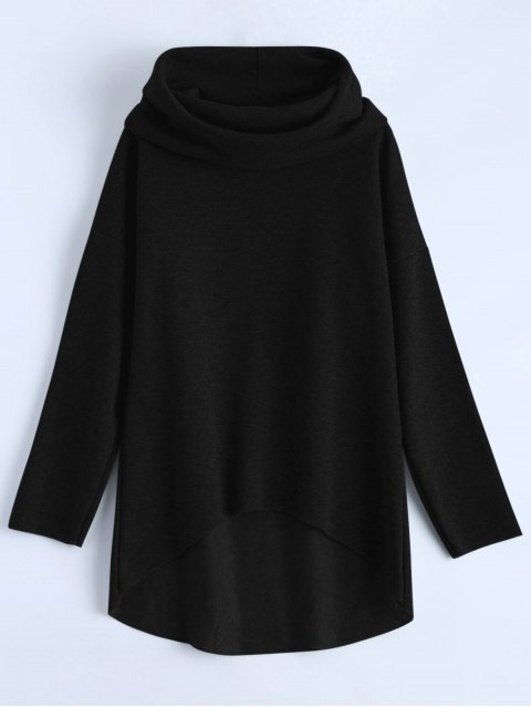 chic High-Low Tunic Hoodie - BLACK L Mobile