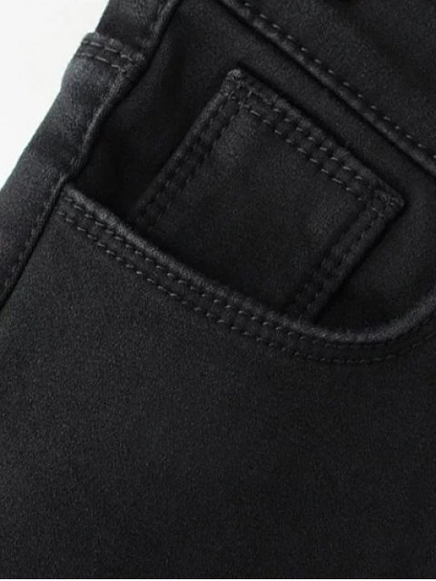 trendy Super Elastic Wool Blend Pencil Jeans - BLACK 2XL Mobile